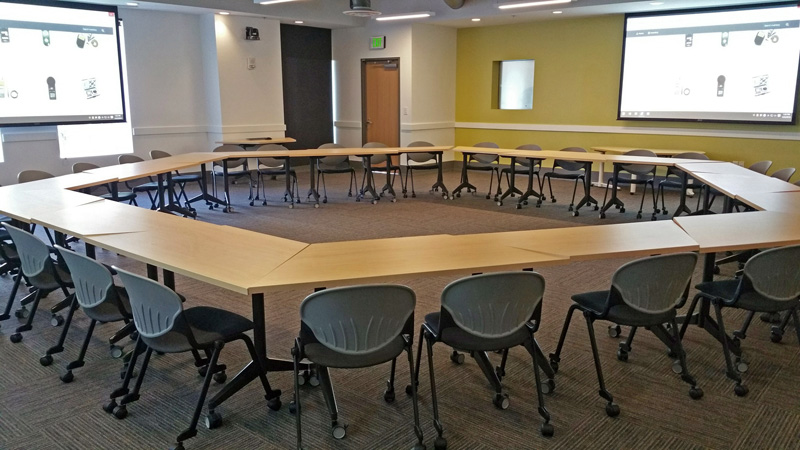 large round table setup for a training